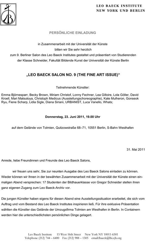 Invitation card: Leo Baeck Salon No. 9